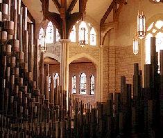 organ pipes inside Grace Church